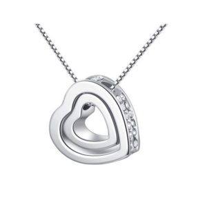 Jewelry - Double Heart Pendant Necklace- Silver